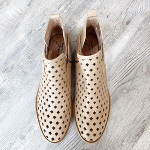 Coolway Tan Laser Cut Ankle Booties